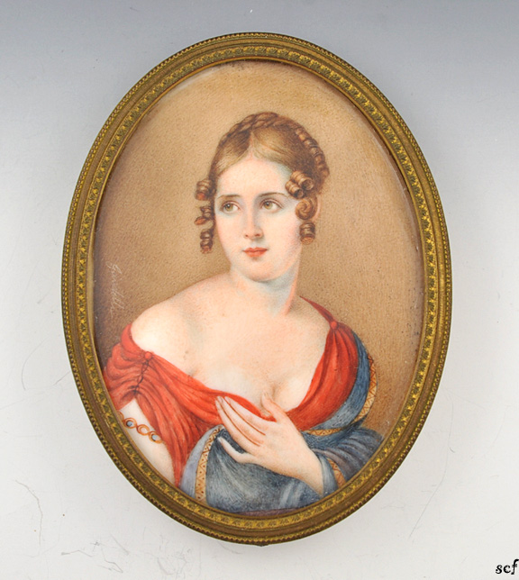 French hand painted antique portrait on bone oval brass for Hand painted portraits from photos